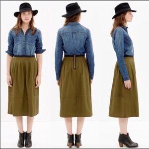 MADEWELL Army Green Prairie Skirt with Black Trim